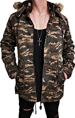 FELL PARKA kapuzen Winterjacke winter strickjacke Jacke lederjacke Herren strick Designer Sweat men jeansjacke mantel kapuzenpullover pullover pulli hoodie oversize khaki mütze NEU (2XL, Camouflage) -