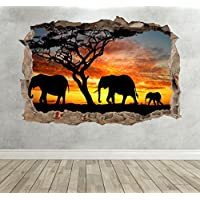 3D Wild Elephant Breakout Smashed Wall Sticker Nature Gift Boys Girls Bedroom Wall Decal Art Extra Large Landscape 100cm (w) X 70cm (h) preiswert