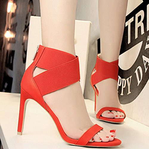 Azbro Women's Open Toe Cross Elastic Strap High Heels