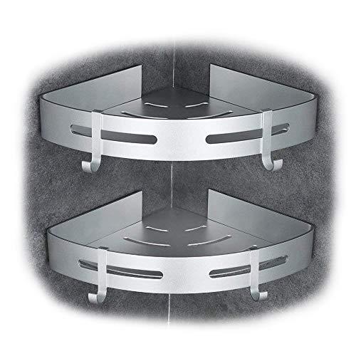 Gricol Eckablage Duschkorb Duschablagen Ohne Bohren für Bad, Patentierter Kleber + Selbstklebender 3M-Kleber, Aluminium, Matte Finish, Badregal, 2 Stück