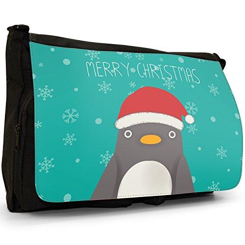 """A forma di fiocchi di neve con scritta """"Merry Christmas"""", colore: nero, Borsa Messenger-Borsa a tracolla in tela, borsa per Laptop, scuola Nero (Big Eye Penguin In Santa Hat)"""