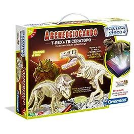 Clementoni- Archeogiocando T-Rex & Triceratopo Gioco Scientifico, Multicolore, 13984
