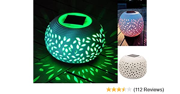 2 Lot of Ceramic Solar Table Lamp w// 7-Color Changing LED Light