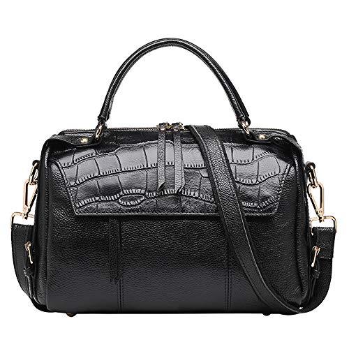 QIAN Oberste Rindsleder-Tasche der Modedame Einfarbige Handtasche Schultertaschen Freizeittasche Geldbörse,black