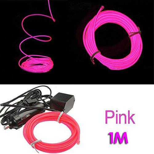 SODIAL (R) 1M EL-Draht Neon LED Auto Licht Party Kabel Tube + 12V Konverter - Fluoreszenz Gruen