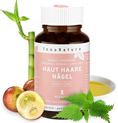 Natürlicher Haut, Haare & Nägel Komplex mit Haar-Vitamin Biotin, Zink (Zinkbisglycinat), Hyaluronsäure (500-700 kDa), Bambus (Organisches Silizium), Brennesselsamen, Camu Camu (VitaminC) + Vitamin E. 60 Kapseln im 1 Monatsvorrat. Hohe Bioverfügbarkeit, hochdosiert, vegan + hergestellt in DE.
