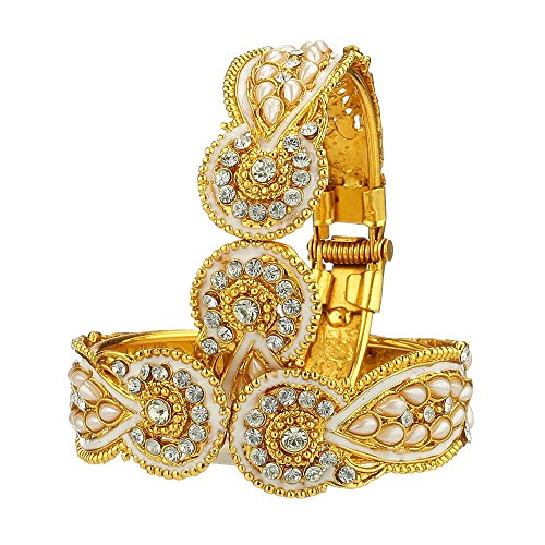 Zeneme American Diamond Gold Plated Kada Bangle Set For Women  available at amazon for Rs.279