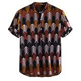 Ginli Camicia Etnica Uomo Stampa Tradizionale Hippy Boho Camicia Uomo Eleganti Slim Fit Casual Manica Corta T-Shirt