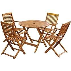 Festnight 5 pcs Salon de Jardin en Bois d'acacia Pliable 1 Table Rond + 4 Chaise