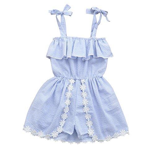 end Kinder Baby Mädchen Outfits Sommer Ärmellos Bekleidungssets Denim Phantasie Blumen Tutu Kleider Spitze Wellenkante Bowknot Party Prinzessin Hosenträger Röcke (Blau, 12M) (Kinder 50er Jahre Outfits)