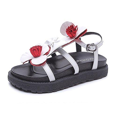 Sandale Essenz (Sommer rutschfeste Damen Sandalen Blumendekoration römische Schuhe Persönlichkeit lebendig Gemütlich (Color : White, Size : 34))