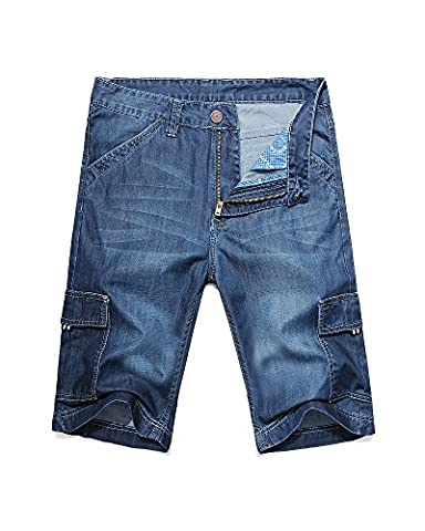 Men's Loose Fit Big & Tall Jean Cargo Shorts Light Blue 36