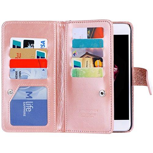 iPhone 8 Plus Hülle, iPhone 7 Plus Hülle, BENTOBEN iPhone 7 8 Glitzer Lederhülle Ledertasche mit 9 Kartenfächer abnehmbar Trageschlaufe und Magnetverschluss Wallet Case Flip Brieftasche für iPhone 8 P M729-Rose Gold