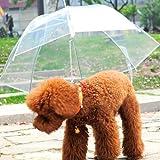 jxy impermeable impermeable transparente del paraguas del animal doméstico con la correa