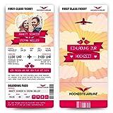 Hochzeit Einladungen (20 Stück) - First Class Flugticket - Hochzeitskarten mit Foto und Abriss