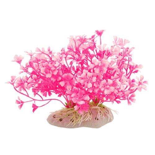 Visork Artificial Aquarium Dwarf Plants Plastic Fish Tank Water Plant  Aquarium Decorations Home Décor Hot Pink White 1 Piece