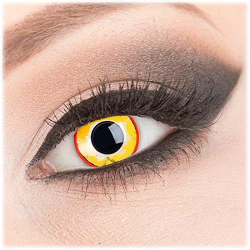 Farbige gelbe rote Crazy Fun Kontaktlinsen 1 Paar 'Yellow Plague' mit Kombilösung (60ml) + Behälter - Topqualität von 'Evil Lens' zu Fasching Karneval Halloween ohne Stärke
