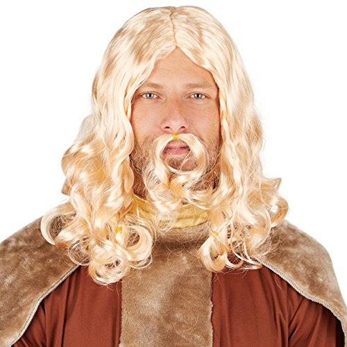 TecTake dressforfun Herrenperücke Wikinger, blond | Coole Herrenperücke inklusive Bart | Rundet Ihr Wikingerkostüm gekonnt ab