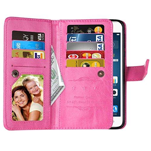 Flip Huawei P9 plus Argument Folio Case Solid Farbe Premium Synthetik-Leder-Kasten-Standplatz-Mappen-Kasten-Kasten mit 9 Karten-Bargeld-Slots für Huawei P9 plus ( Color : Brown , Size : Huawei P9 Plus Pink