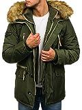 BOLF Herren Winterjacke mit Kunstfell-Kapuze J.Boyz 1045 Grün M [4D4]