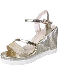 Calaier Mujer Salso Tacón Ancho 10CM Sintético Hebilla Sandalias de Vestir Zapatos
