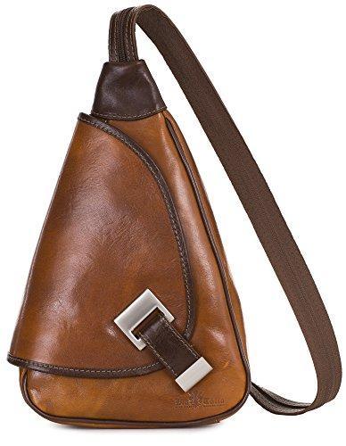 'Mila' von LiaTalia - 2in1 - Kleine italienische Lederrucksack und Schultertasche leicht und praktisch - (Hellbraun - Braun Einfassung)