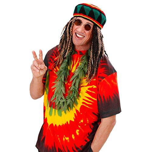 Party Reggae Kostüm - Deko Hanf Kette Hippie Kostüm Rasta Reggae Hanfkette Cannabis Scherzartikel Rastafarie Karneval Fasching