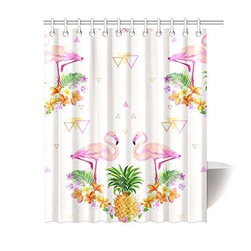 InterestPrint Flamingo Vogel Palmblättern Home Decor, Tropical Flower Polyester-Ananas-Duschvorhang Badezimmer-Sets mit Haken 182,9x 182,9cm, Textil, Multi, 60 X 72 inch