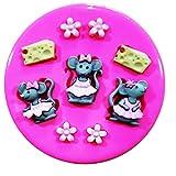 Trois Petite fille souris et le fromage Moule Moule en silicone pour décoration de gâteaux gâteaux en pâte à sucre Fairie Blessings