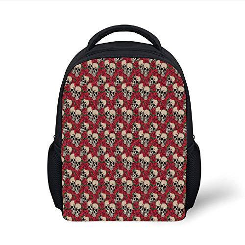 Kids School Backpack Rose,Graphic Skulls Red Rose Blossoms Halloween Inspired Retro Gothic Pattern,Vermilion Tan Green Plain Bookbag Travel Daypack