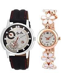 Pappi Boss Couple Analogue Multi-Colour Dial Watch (Combo Of 2) - Stylish Couple Watch