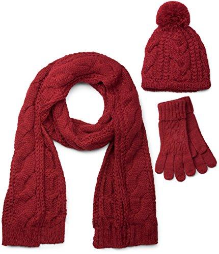 styleBREAKER Schal, Mütze und Handschuh Set, Zopfmuster Strickschal mit Bommelmütze und Handschuhe, Damen 01018208, Farbe:Bordeaux-Rot / Schal (One Size)