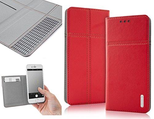 Bralexx Universal Slim Bookstyle-Tasche Hülle Case Cover mit Kartenfach, bequeme Foto-Funktion (5,2 - 5,4 Zoll max. 153 x 75 x 10 mm, Rot)