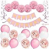 Decorazioni per Feste di Compleanno Bambina - 43 Pz - Include Striscione Happy Birthday, Pompon di Carta, Palloncini, Palloncini a Coriandoli, Decorazioni a Spirale - Set Rosa e Bianco per Bimba