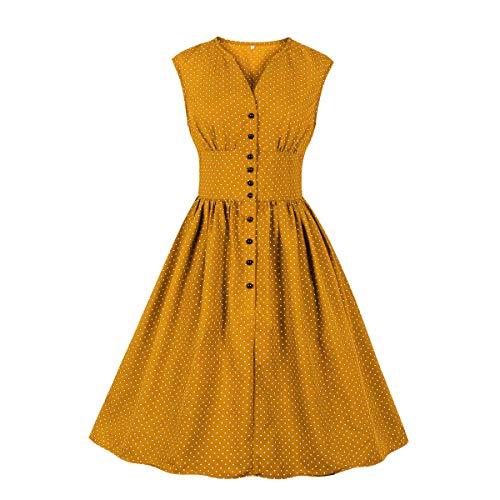 Wellwits Robe Vintage à col Fendu pour Femme Motif Floral années 1940 - Jaune - X-Large