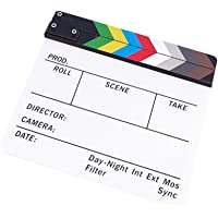 ZORBES® Imported Clapperboard TV Film Movie Clapboard White Board with Colorful Stripe Slate
