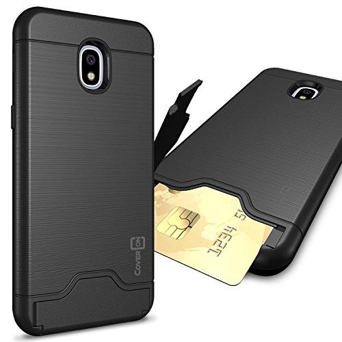 Samsung Galaxy J32018Fall, Express Prime 3/J3Star/J3Prime 2/AMP Prime 3/Eclipse 2J3/Aura/Galaxy Erreichen Fall, coveron [securecard Serie] Hybrid Phone Cover w/Card Halter, Schwarz (Phone Cricket Card Wireless)