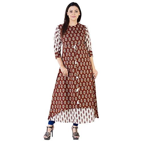 Khushal Women's Cotton Printed Long Length Maroon Kurtas (Kk-16-Double-Layer(K-90)_Small)