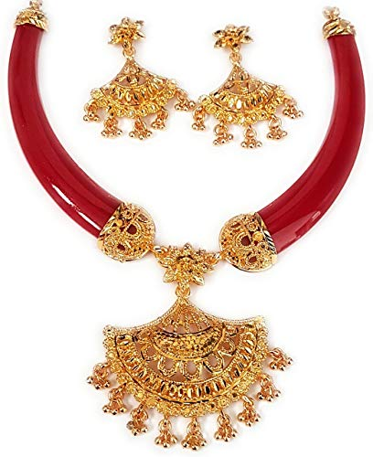 NEW JESSORESWARI JEWELLERS Red Zink Pola Necklace for Women