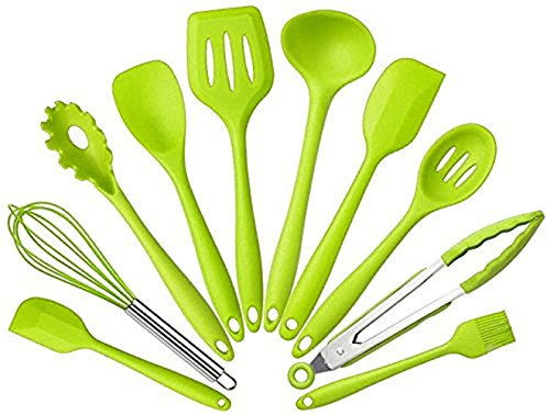 Set Of 10 Silicone Non Toxic Non Stick Kitchenware Kitchen Utensils Series Home Cooking Tools Include Tong Whisk Brush Slotted Spoon Pasta Fork Slotted Spatula