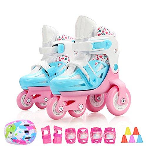 WANG-L Rollerblades Jungen Mädchen Kleinkinder Rollschuhe Einstellbare Kinder Anfänger Atmungsaktiv Skating Schuhe Schutz Set 3-8 Jahre Alt,Blue-M-Set1