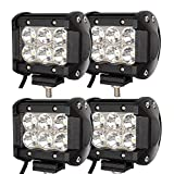 Hengda 4x18W Quadrato Luce Faro LED Luci Tetto Fuoristrada Proiettore Offroad Fendinebbia Faretti a LED Faretto Faro Spot Flood Impermeabile IP67 1800LM bianco DC 10-30V [Classe di efficienza energetica A++]