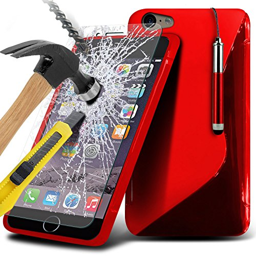 Aventus ( Red ) Apple iPhone 6S Case Protective Elegant Tough Survivor Fest Rugged Shock Proof Heavy Duty Case W / Back-Standplatz, ausgeglichenes Glas-LCD-Display Schutzfolie, Poliertuch und Mini-ver Wave Gel+ Tempered ( Red )