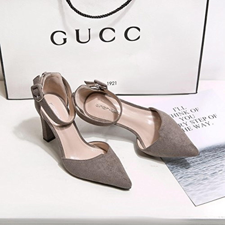 Die trendige Damen Schuhe High Heel Schuhe satin light Düsenspitze video Dünne geschlitzte Lasche Schnalle grau 34