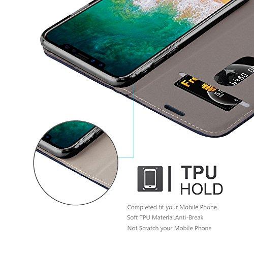 Apple iPhone X Hülle in GRAU SCHWARZ von Cadorabo - Handy-Hülle im Stoff Design mit Magnet-Verschluss Standfunktion Karten-Fach Case Cover Schutz-hülle Etui Tasche Book Klapp Style DUNKEL-BLAU-BRAUN