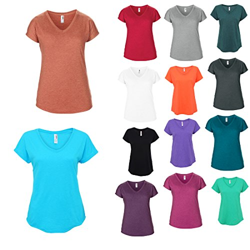 Anvil Womens Casual Tri-Blend Semi-Fitted Short Sleeved V-Neck T-Shirt XS-2XL