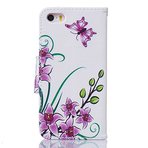 iPhone 5S Coque, iPhone SE Coque, Lifeturt [ Purple Butterfly ] [book-style] Flip Case Coque en PU Cuir Housse de Protection Étui à rabat Case Cover Ultra Slim Portefeuille PU Cuir avec stand de Carte E02-Purple Butterfly4151