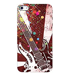 PrintDhaba Guitar D-3232 Back Case Cover for APPLE IPHONE 4 (Multi-Coloured)