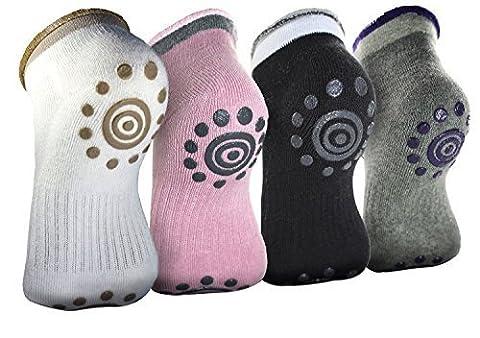 4 Paar Rutschfeste Skid Winter Yoga Socken mit Griffen Baumwolle Silikon Dot Socke für Frauen Ballett Socken Pilates Socken BigNoseDeer