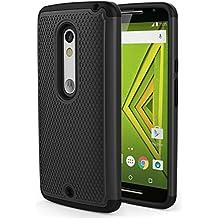 Moto X Play Phone Funda - MoKo [Anti Drop] Hard Polycarbonate + Silicone Protector Bumper Funda para Moto X Play / Droid Maxx 2 5.5 Inch 2015 Smartphone, Negro (Not for Moto X Previous Generations)